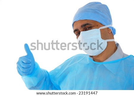 Medical Doctor in blue gown happy - stock photo
