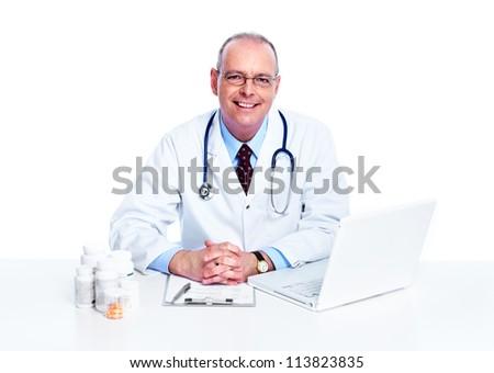 Medical doctor. Isolated on white background. - stock photo