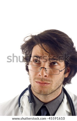 Medical doctor looking up at copyspace, isolated over a white background