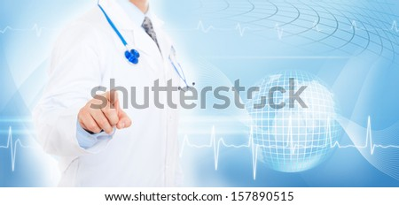 medical doctor man point finger, white lab coat, cardiologist over abstract blue background, concept health care - stock photo