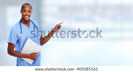 Medical doctor man presenting copy space. - stock photo