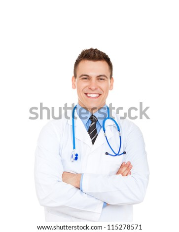 medical doctor man smile with stethoscope folded crossed hands. Happy toothy smiling Isolated over white background - stock photo