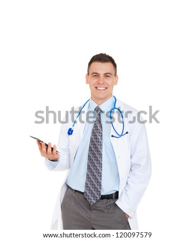 medical doctor man smile with stethoscope hold computer tablet touch screen pad. Happy toothy smiling Isolated over white background - stock photo