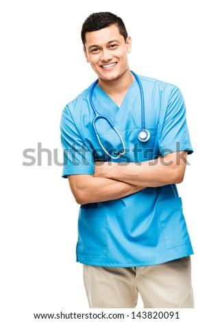 medical doctor nurse latin american mixed race hispanic happy medicine hospital - stock photo