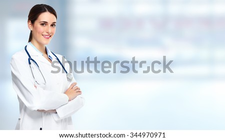 Medical doctor pharmacist woman over blue background. - stock photo