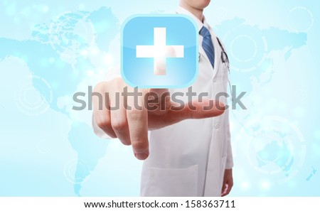 Medical Doctor pushing a blue cross icon over world map background - stock photo
