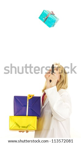 Medical doctor shooting at a gift