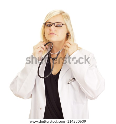Medical doctor with black stethoscope - stock photo