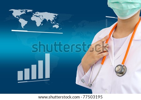 Medical doctor with cardio sttethoscope on white background - stock photo