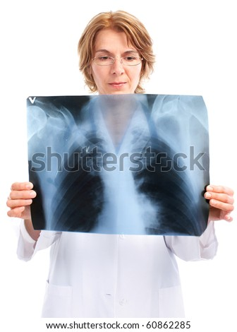 Medical doctor with x-ray image. Isolated over white background