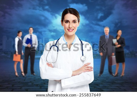 Medical doctor  woman and group of business people. - stock photo