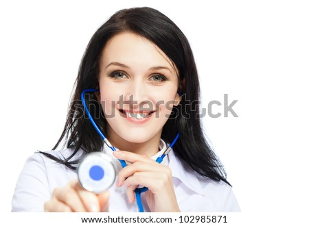 medical doctor woman happy smile, holding stethoscope, isolated over white background