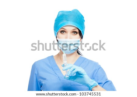 medical doctor woman hold syringe in hand, injection, nurse wear blue surgery suit gloves mask cap, Isolated over white background