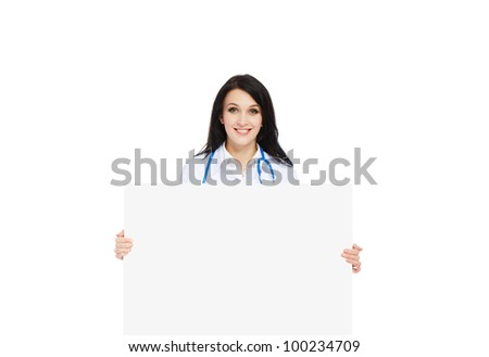 medical doctor woman smile with stethoscope hold blank card board, concept of advertisement product, empty copy space. Isolated over white background - stock photo
