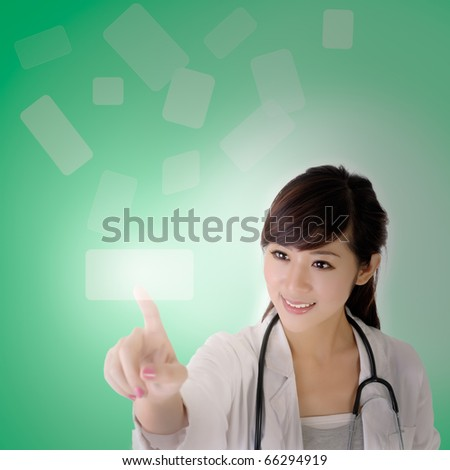 Medical doctor woman use innovative technologies on air. - stock photo