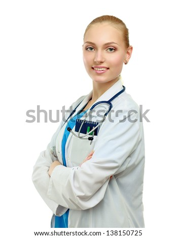 Medical doctor woman with stethoscope, isolated on white background - stock photo