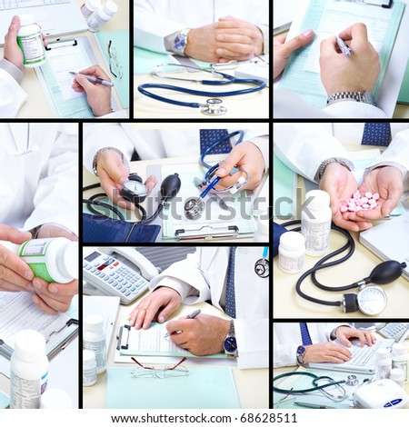 Medical doctor working in the office. Hospital - stock photo