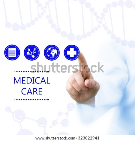 Medical doctor working with healthcare icons. Modern medical technologies concept - stock photo