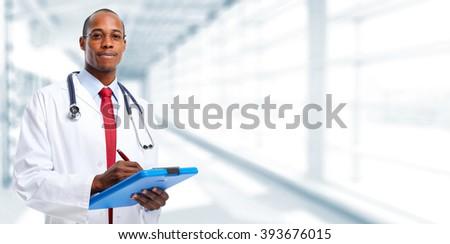 Medical doctor writing prescription. - stock photo