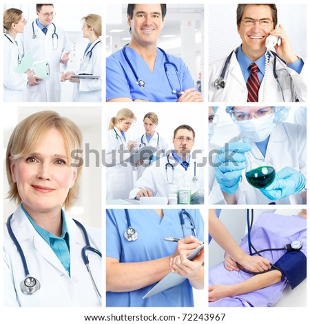 Medical doctors and a woman patient. - stock photo