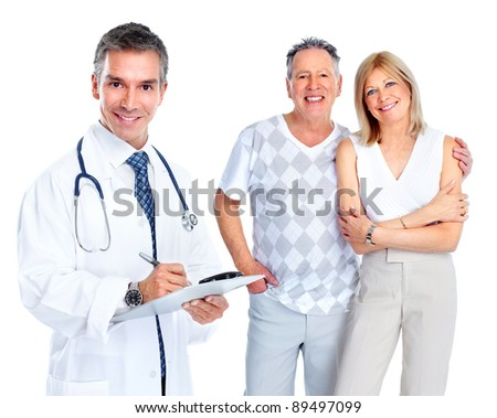 Medical doctors and senior couple. Health care. Isolated on white background. - stock photo