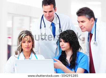 Medical doctors group at the hospital. - stock photo
