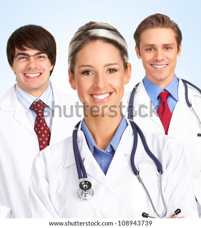 Medical doctors group. Health care background. - stock photo