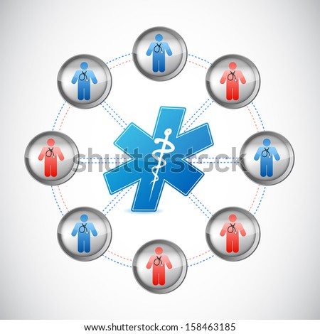 medical doctors network connected illustration design over white - stock photo