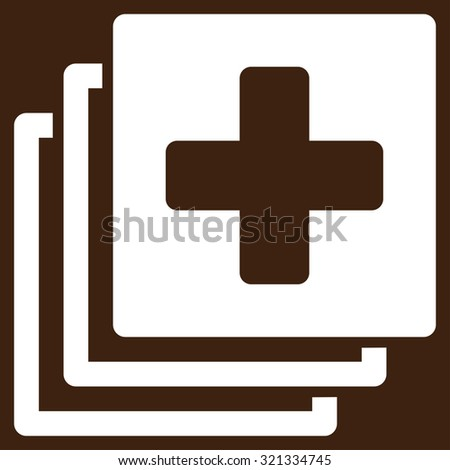 Medical Documents raster icon. Style is flat symbol, white color, rounded angles, brown background.