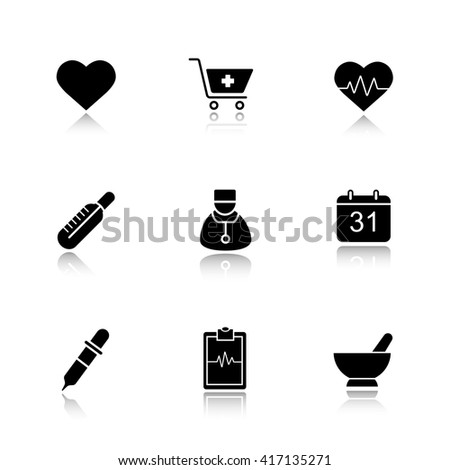 Medical drop shadow black icons set. Hospital cardiology center. Thermometer, doctor, and homeopathy symbols. Pharmacy store and alternative medicine herbs. Logo concept. Raster isolated illustrations - stock photo