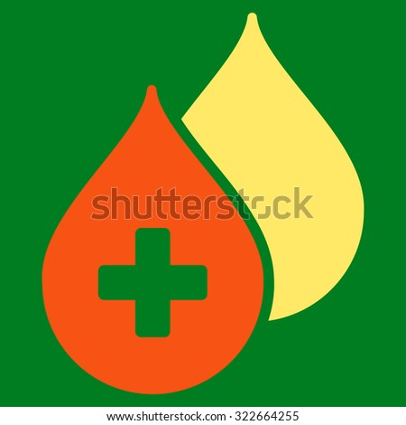 Medical Drops glyph icon. Style is bicolor flat symbol, orange and yellow colors, rounded angles, green background. - stock photo
