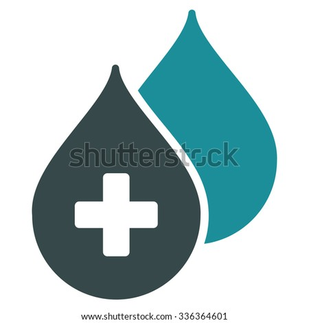 Medical Drops glyph icon. Style is bicolor flat symbol, soft blue colors, rounded angles, white background. - stock photo