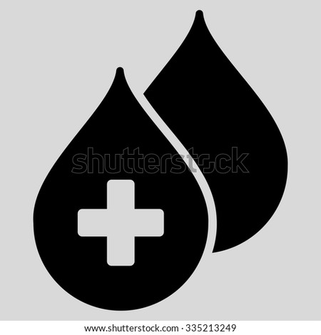 Medical Drops glyph icon. Style is flat symbol, black color, rounded angles, light gray background. - stock photo