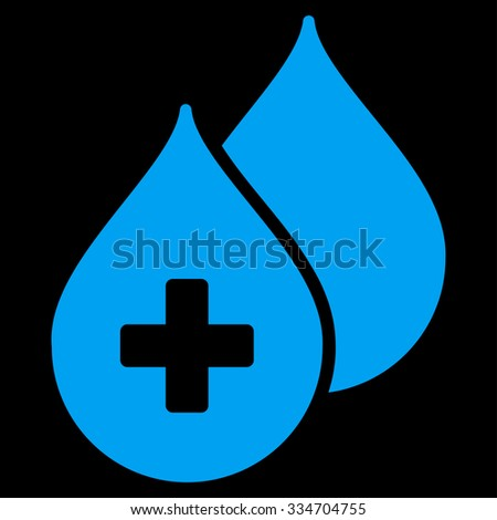 Medical Drops glyph icon. Style is flat symbol, blue color, rounded angles, black background. - stock photo