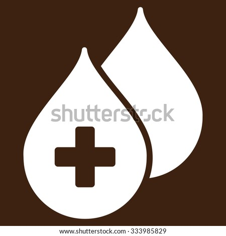 Medical Drops glyph icon. Style is flat symbol, white color, rounded angles, brown background. - stock photo