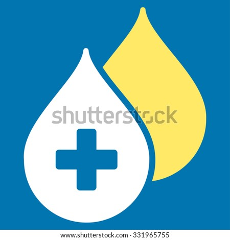 Medical Drops illustration icon. Style is bicolor flat symbol, yellow and white colors, rounded angles, blue background. - stock photo