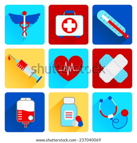 Medical emergency health care flat icons set with first aid kit pill thermometer isolated  illustration