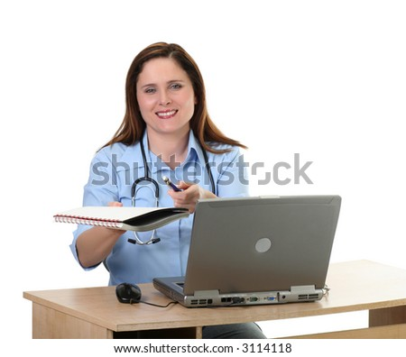 medical employee getting a signature, isolated on white