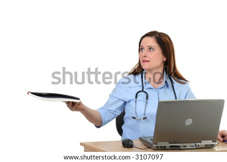 medical employee passing a file, isolated on white