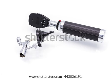 Medical equipment diagnostic ear exam.Otoscope on white background - stock photo