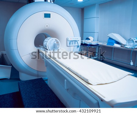 Medical equipment. MRI room in hospital. Background - stock photo