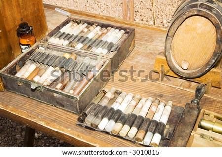medical equipment on display at a civil war reenactment at Picacho Peak State Park, arizona - stock photo