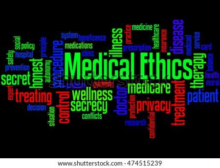 Medical Ethics, word cloud concept on black background.