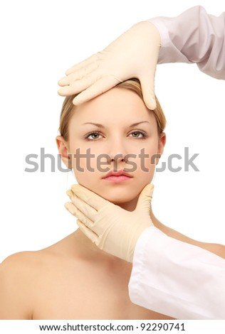 Medical examination face of beautiful woman - stock photo