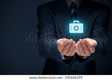 Medical (health) and life insurance concept. Insurance agent with protective gesture and icon of nurse briefcase. - stock photo