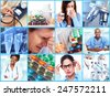 Medical health care collage. People having migraine headache. - stock photo