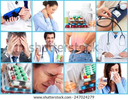 Medical health care collage. People having migraine headache. - stock photo