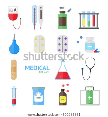 Medical Healthcare Equipment Icon Set on a Light Background. Flat Design Style. illustration