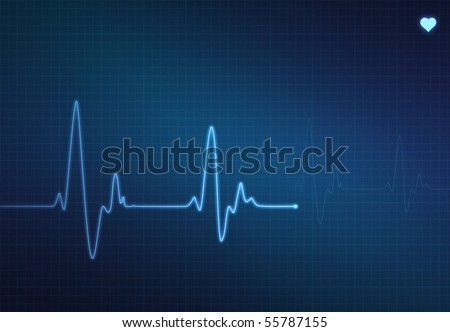 Medical heart monitor (electrocardiogram) measuring heartbeat rate with blue background and heart symbol - stock photo