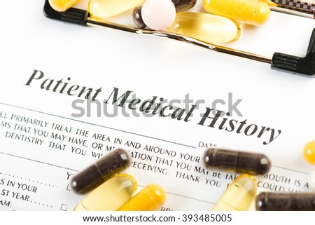 Medical history document with medicine
